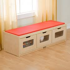 rectangle beige wooden storage bench with three storages and red