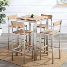 Pub Table Set Macon 5 Piece Square Teak Outdoor Bar Table Set Whitewash Outdoor