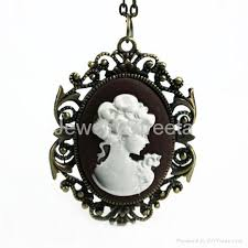 cameo antique necklace images Vintage style locket victorian cameo lady pendent necklace jewelry jpg