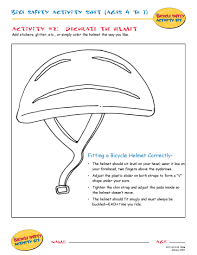 bike safety activity sheet ages 4 to 7 decorate the helmet