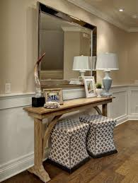 table with stools underneath ottomans under console ideas pictures remodel and decor throughout