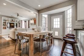 Transitional Kitchen Design Ideas by Baffling Rectangle Shape Wooden Dining Table Come With Armless