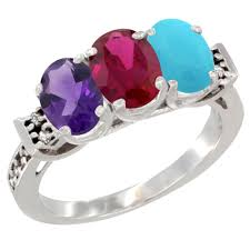 natural turquoise stone 10k white gold diamond jewelry 3 stone rings ruby