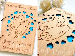 engraved wedding guest book sea otters wedding guest book wood engraved guestbook laser