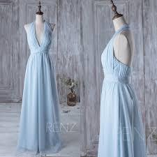 light blue halter maxi dress 2016 light blue bridesmaid dress long v neck halter wedding dress