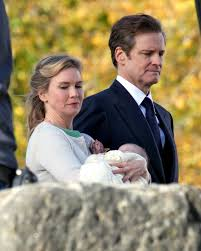 renee zellweger and colin firth spotted with baby on set of new
