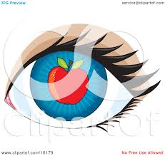 blue human eye with an apple concept for apple of my eye clipart