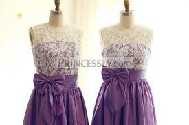 purple lace bridesmaid dress v back ivory lace purple taffeta tea length bridesmaid dress