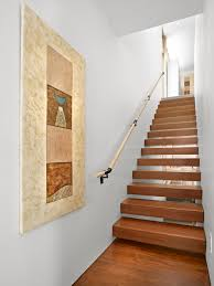 stair treads and risers staircase modern with artwork floating