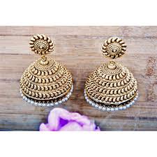 big jhumka gold earrings big bold gold antique kairi jhumkas indian wedding jewellery