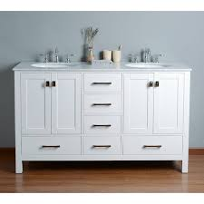 White Double Sink Bathroom Vanities by Stufurhome 60 Inch Malibu Pure White Double Sink Bathroom Vanity
