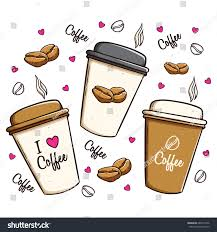 cute coffee mugs set cute coffee cups using doodle stock vector 688157446