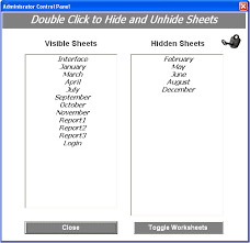excel worksheets in a userform hide and unhide worksheets