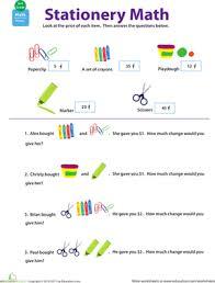 making change stationery math worksheet education com