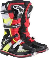 motorcycle footwear mens mens alpinestars tech 8 rs black red yellow leather motorcycle off
