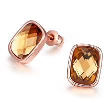 golden orange color champagne color rose golden orange styles stud earrings e048 gift