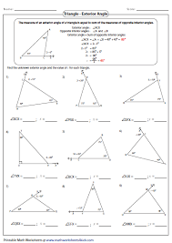 finding missing angles in triangles worksheet worksheets