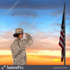 American Flag Sunset Military Land Forces Female Soldier Saluting Flag Stock Picture