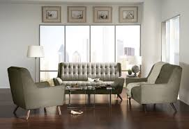 Chenille Sofa by Natalia Mid Century Modern Style Gray Chenille Sofa Sofa