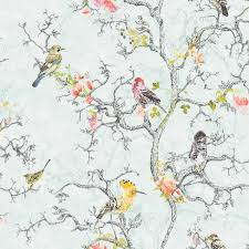 bird wallpaper statement ornithology blue birds wallpaper departments diy at b q
