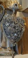 metal rhinestone covered heart large french santos sacred heart