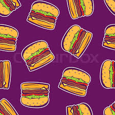 comic wrapping paper colorful bright outline hamburger stickers on violet or