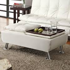 white leather storage ottoman cream white faux leather pillow top seating accent tray table