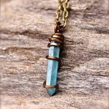 blue crystal stone necklace images Shop aqua aura quartz crystal on wanelo jpg