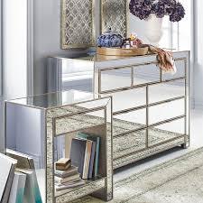 Mirrored Glass Nightstand Alexa Mirrored Nightstand U0026 Dresser Bedroom Set Decor Home