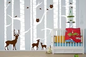 Animal Wall Decals For Nursery Birch Tree Forest Set Vinyl Wall Decal Owls Deer 1323