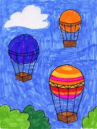 air balloon drawing art projects for kids