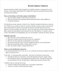 Example Summary For Resume Of Entry Level by Resume Summary Statement Examples U2013 Okurgezer Co