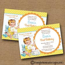 Baby 1st Birthday Invitation Card Baby U0027s First Birthday Invitation Vintage Birthday Party