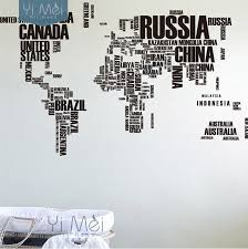 world map with country names contemporary wall decal sticker large world map countries letters names educational wallpapers