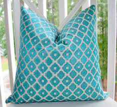Home Decor Designer Fabric by Turquoise Throw Pillows Hidden Zipper Geometric Pattern Aqua