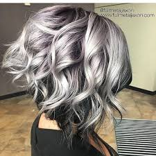 shag haircut brown hair with lavender grey streaks 38 super cute ways to curl your bob popular haircuts for women