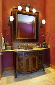 alluring red accents wall paint in luxury bathroom decoration feat