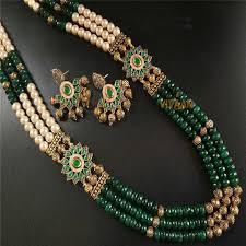 fashion necklace sets images Designer artificial green color long necklace set for women jpg