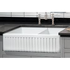 Fireclay Kitchen Sinks by Sutton Place 33 In Double Bowl Reversible Fireclay Farmhouse