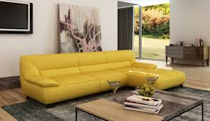 Modern Yellow Sofa Casa 5121b Modern Yellow Italian Leather Sectional Sofa