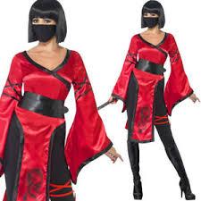 ladies ninja costume womens black red warrior halloween