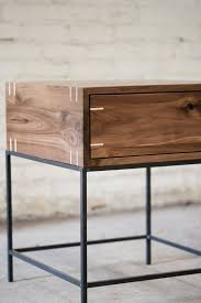 iron and wood side table wood and metal bedside table developerpanda