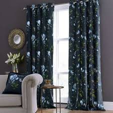 Blue Floral Curtains Charm Floral Midnight Blue Eyelet Curtains Dunelm