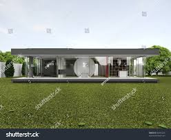backyard very modern house bungalow design stock illustration