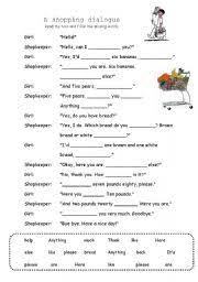 english teaching worksheets shopping conversation