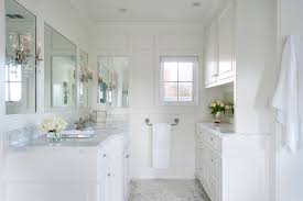 white paneled master bathroom in davids traditional
