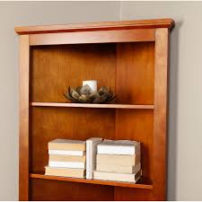 Corner Bookcase Oak Finley Home Redford Corner Bookcase Oak Walmart