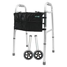 elder walker folding elder walker aid adjustable wheel bag support