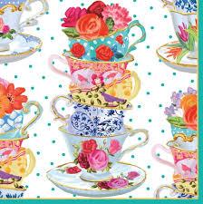 caspari entertaining luncheon napkin pink tea cups