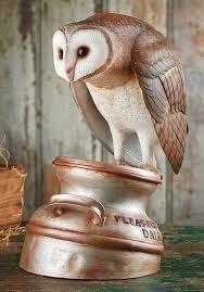 owl wood carving barn owl on milk can original wood carving wings